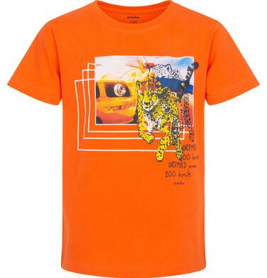 Endo - T-shirt z krótkim rękawem dla chłopca, z gepardem i samochodem, pomarańczowy, 9-13 lat C06G045_2 26