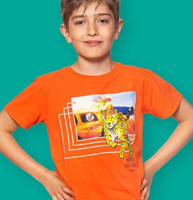 Endo - T-shirt z krótkim rękawem dla chłopca, z gepardem i samochodem, pomarańczowy, 9-13 lat C06G045_2 236