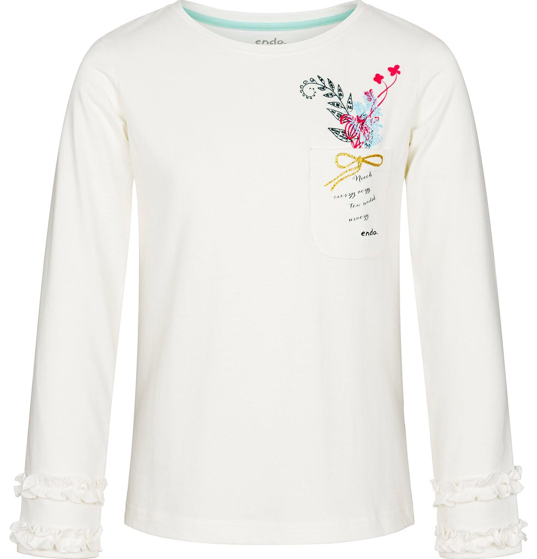 Endo - Bluzka z długim rękawem dla dziewczynki, z kieszonką, złamana biel, 9-13 lat D92G607_1