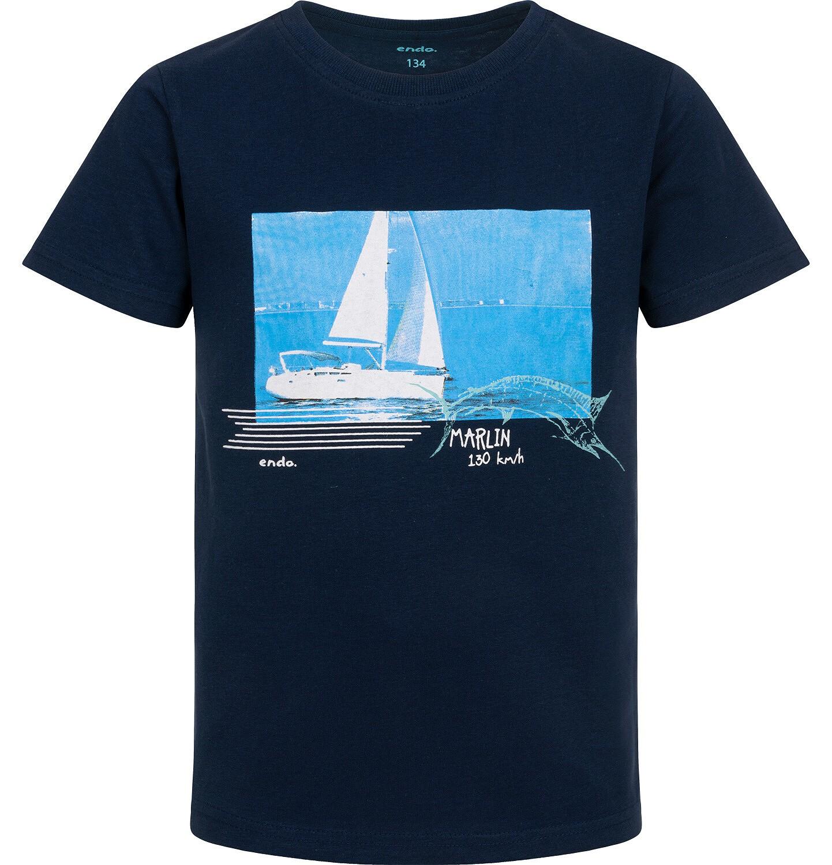 Endo - T-shirt z krótkim rękawem dla chłopca, z żaglówką, granatowy, 9-13 lat C06G047_1