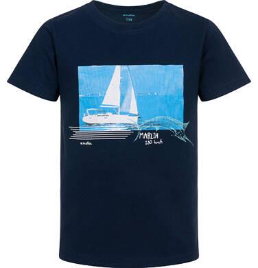 Endo - T-shirt z krótkim rękawem dla chłopca, z żaglówką, granatowy, 9-13 lat C06G047_1 235