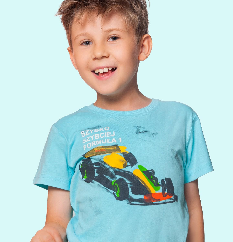 Endo - T-shirt z krótkim rękawem dla chłopca, z bolidem F1, niebieski 9-13 lat C06G048_1