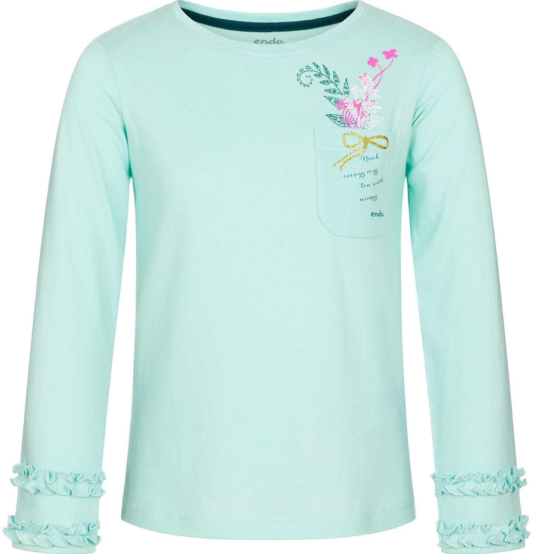 Endo - Bluzka z długim rękawem dla dziewczynki, z kieszonką, miętowa, 9-13 lat D92G607_2