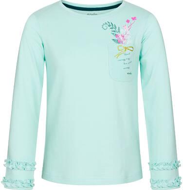 Endo - Bluzka z długim rękawem dla dziewczynki, z kieszonką, miętowa, 9-13 lat D92G607_2 1