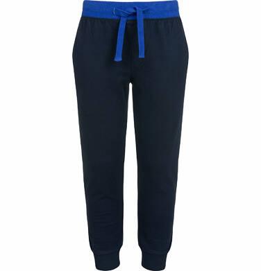 Endo - Spodnie dresowe dla chłopca, z kontrastowym ściągaczem w pasie, ciemnogranatowe, 2-8 lat C03K022_1