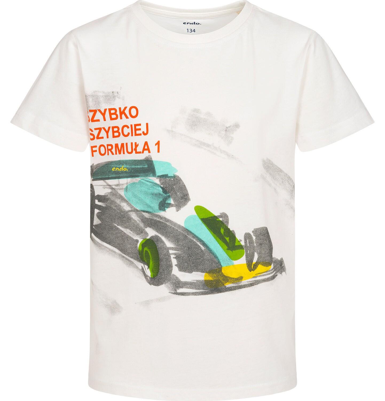 Endo - T-shirt z krótkim rękawem dla chłopca, z bolidem F1, kremowy 9-13 lat C06G048_2