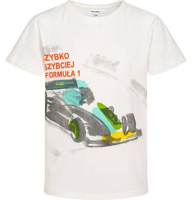 Endo - T-shirt z krótkim rękawem dla chłopca, z bolidem F1, kremowy 9-13 lat C06G048_2 234