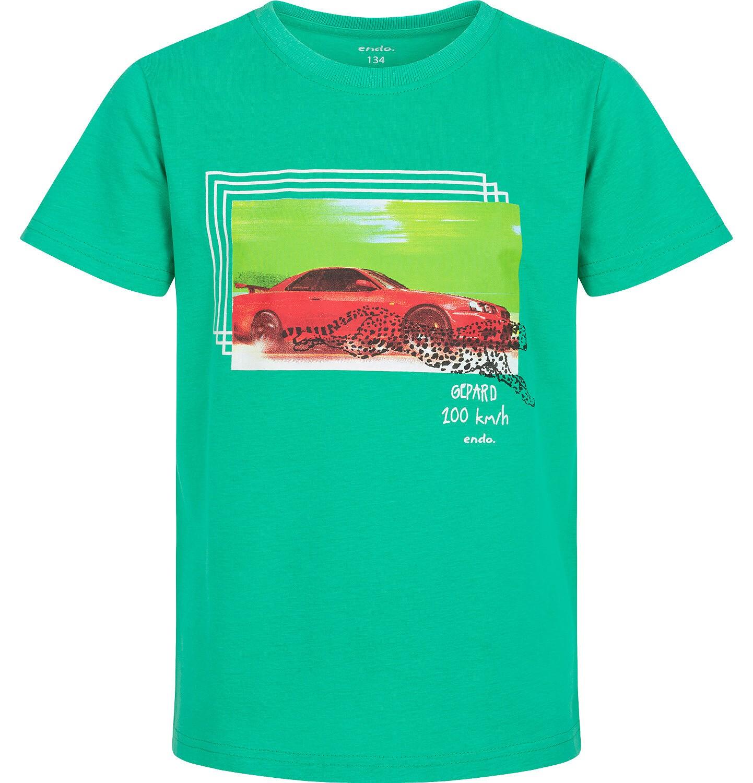 Endo - T-shirt z krótkim rękawem dla chłopca, z samochodem i gepardem, zielony, 9-13 lat C06G049_1