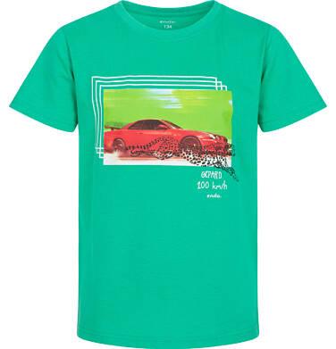 Endo - T-shirt z krótkim rękawem dla chłopca, z samochodem i gepardem, zielony, 9-13 lat C06G049_1 122
