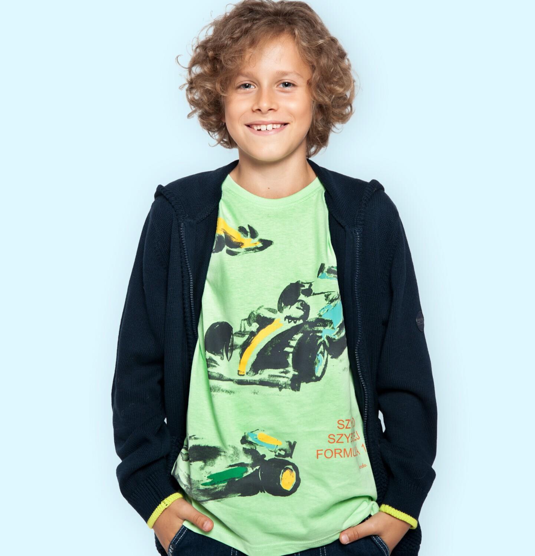 Endo - T-shirt z krótkim rękawem dla chłopca, z bolidami F1, zielony, 9-13 lat C06G050_1