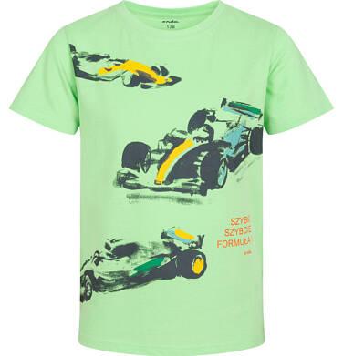 Endo - T-shirt z krótkim rękawem dla chłopca, z bolidami F1, zielony, 9-13 lat C06G050_1 233