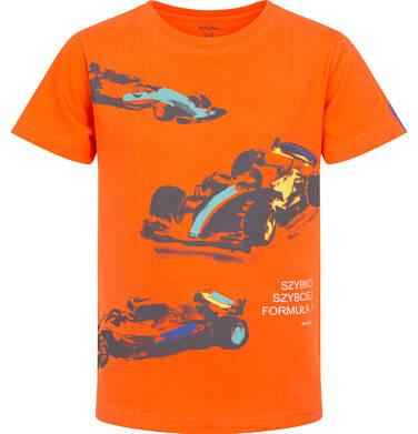 Endo - T-shirt z krótkim rękawem dla chłopca, z bolidami F1, pomarańczowy, 9-13 lat C06G050_2 232