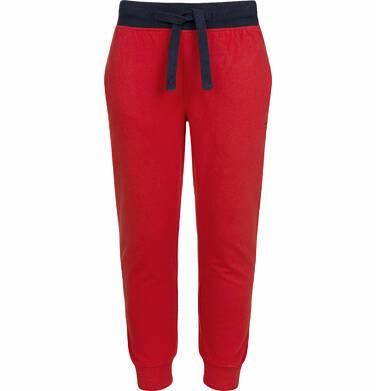 Spodnie dresowe dla chłopca, z kontrastowym ściągaczem w pasie, czerwone, 9-13 lat C03K522_3