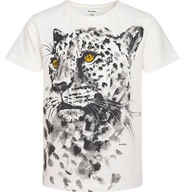 Endo - T-shirt z krótkim rękawem dla chłopca, z gepardem, kremowy, 9-13 lat C06G089_1 225