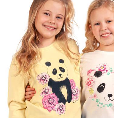 Endo - Bluza dla dziewczynki, panda w kwiatach, żółta, 2-8 lat D03C003_1