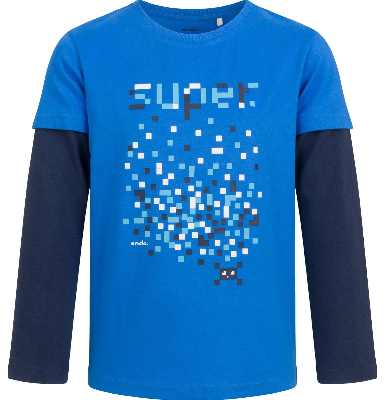 Endo - T-shirt z długim, kontrastowym rękawem dla chłopca, niebieski, 9-13 lat C04G033_1