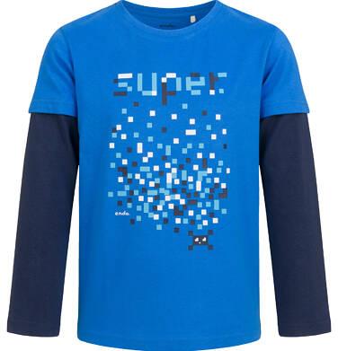 T-shirt z długim, kontrastowym rękawem dla chłopca, niebieski, 9-13 lat C04G033_1