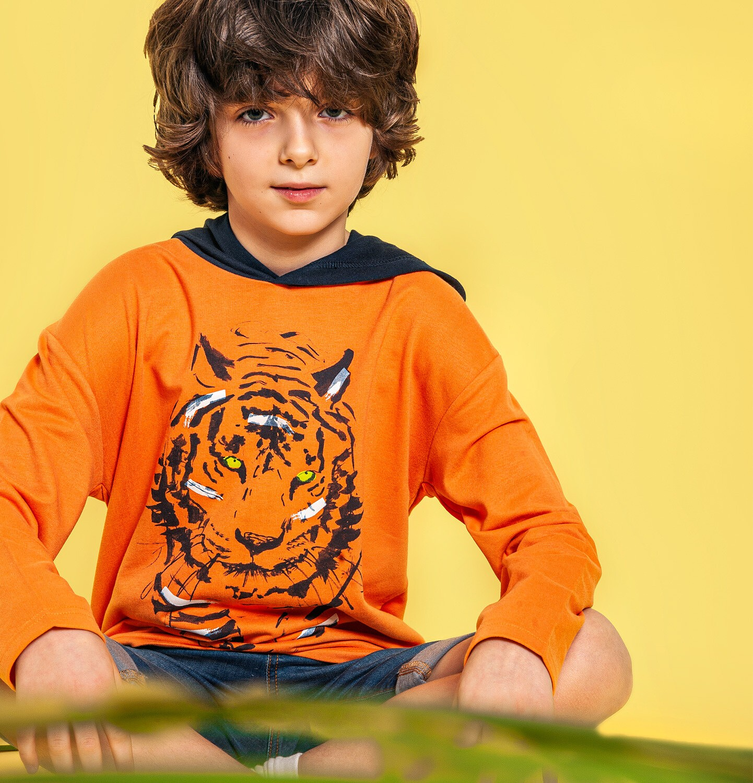 Endo - Bluza z kapturem dla chłopca, z tygrysem, pomarańczowa, 9-13 lat C05C004_1