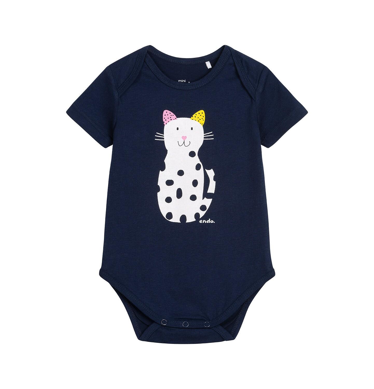 Endo - Body z krótkim rękawem dla dziecka do 2 lat, z kotem w kropki N05M033_2