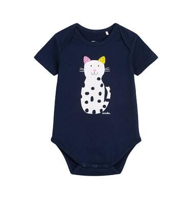 Body z krótkim rękawem dla dziecka do 2 lat, z kotem w kropki N05M033_2