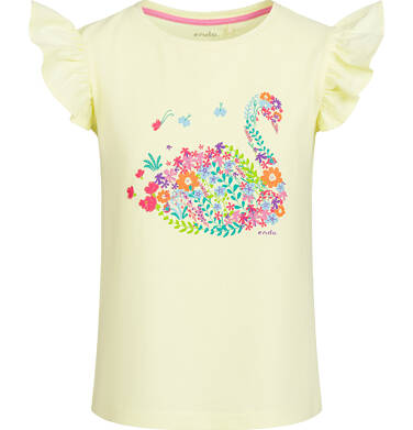 Endo - Bluzka z krótkim rękawem dla dziewczynki, z łabędziem, żółta, 2-8 lat D03G097_1 17