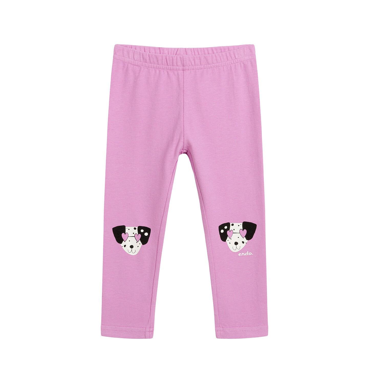 Endo - Legginsy dla dziecka do 2 lat, z psem w kropki, różowe N03K046_1