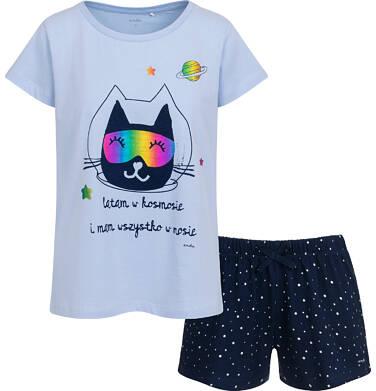 Piżama damska z krótkim rękawem, niebieska z kotem astronautą Y05V011_1