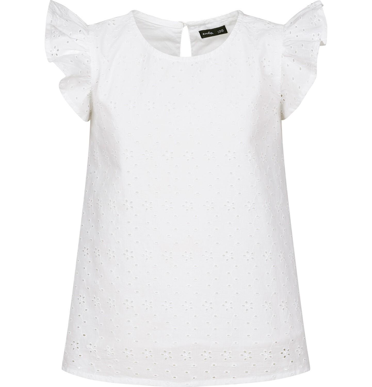 Endo - Batystowa bluzka z krótkim rękawem dla dziewczynki, z drobnym haftem, biała, 2-8 lat D03F002_1