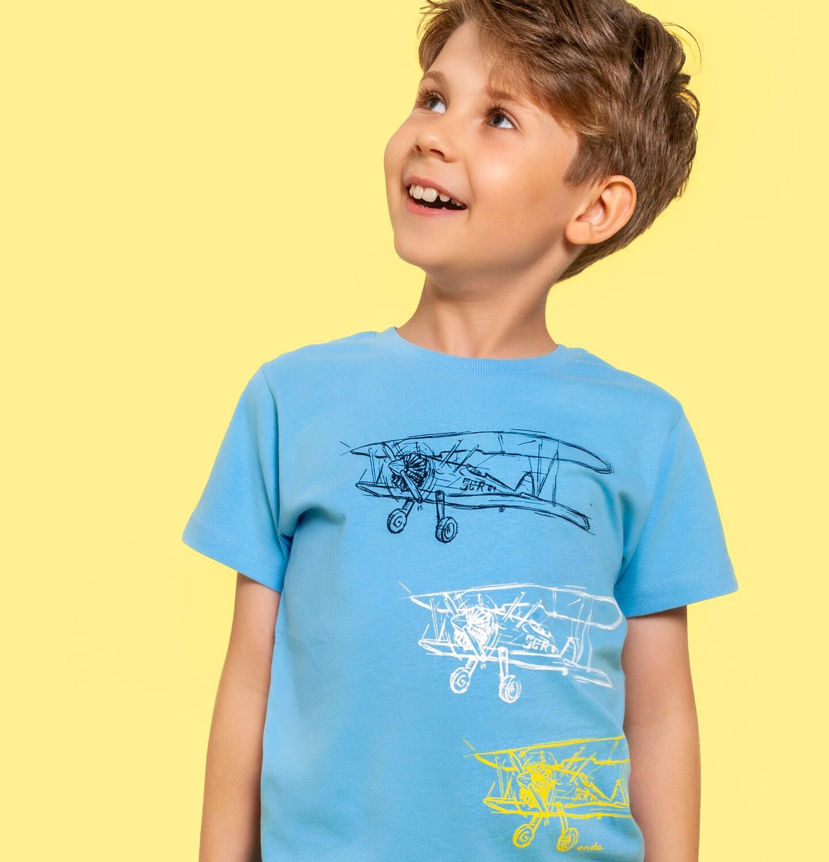 Endo - T-shirt z krótkim rękawem dla chłopca, z samolotami, niebieski, 9-13 lat C06G053_1