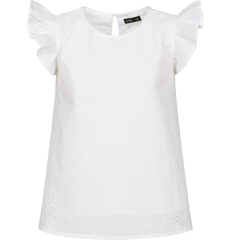 Endo - Batystowa bluzka z krótkim rękawem dla dziewczynki, z drobnym haftem, biała, 9-13 lat D03F502_1