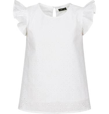 Endo - Bluzka koszulowa z krótkim rękawem dla dziewczynki, z drobnym haftem, szara, 9-13 lat D03F502_1 216