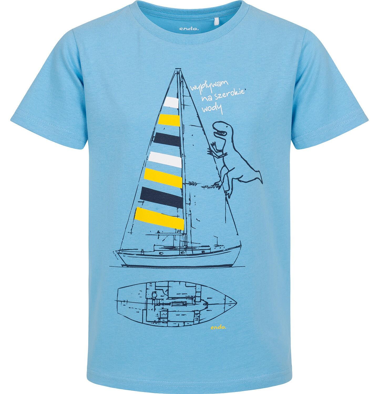 Endo - T-shirt z krótkim rękawem dla chłopca, z żaglówką i dinozaurem, niebieski, 9-13 lat C06G054_1
