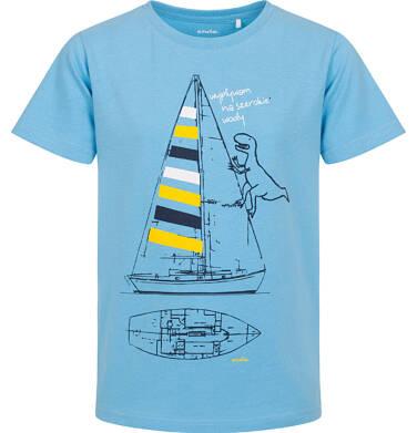 Endo - T-shirt z krótkim rękawem dla chłopca, z żaglówką i dinozaurem, niebieski, 9-13 lat C06G054_1 229