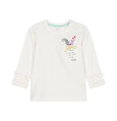 Endo - Bluzka z długim rękawem dla dziecka do 3 lat, z kieszonką, złamana biel N92G107_1