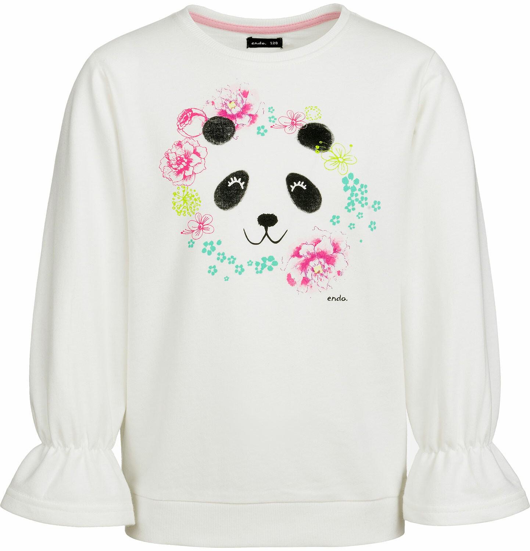 Endo - Bluza dla dziewczynki, z pandą i falbanką na rękawach, porcelanowa, 9-13 lat D03C519_1