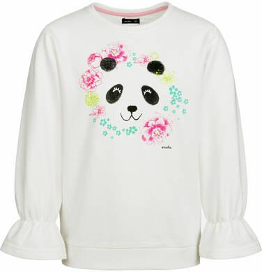 Bluza dla dziewczynki, z pandą i falbanką na rękawach, porcelanowa, 9-13 lat D03C519_1