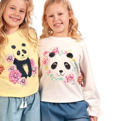 Endo - Bluza dla dziewczynki, z pandą i falbanką na rękawach, porcelanowa, 9-13 lat D03C519_1,2