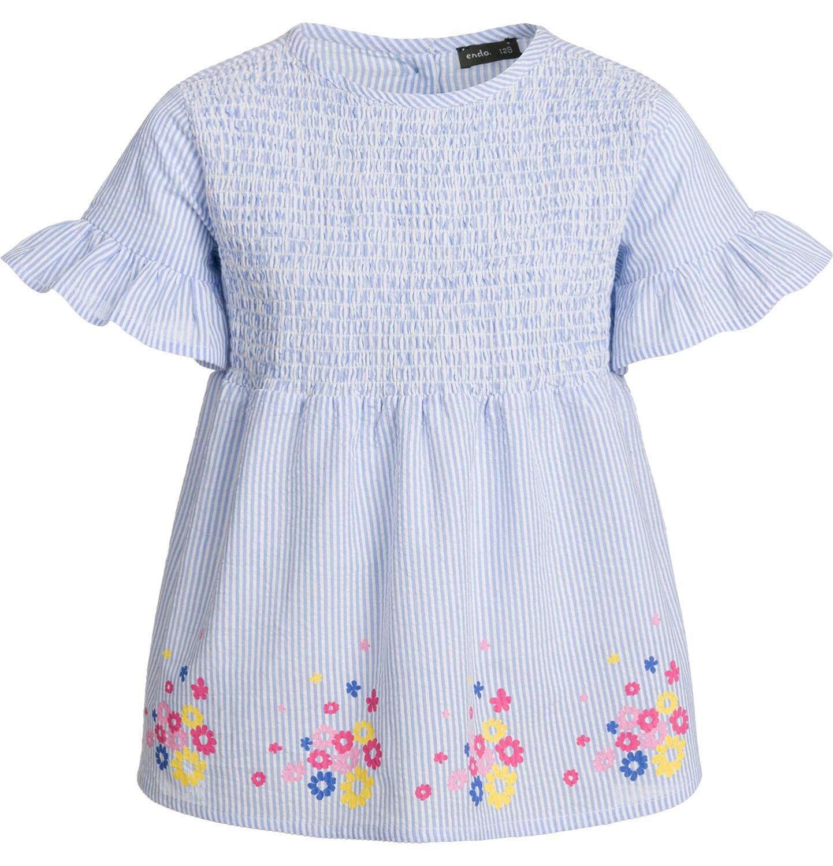Endo - Bluzka koszulowa z krótkim rękawem dla dziewczynki, w paski, deseń w kwiaty, 2-8 lat D03F007_1