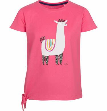 Endo - Bluzka z krótkim rękawem dla dziewczynki, wiązanie z boku, z lamą, różowa, 2-8 lat D03G060_1
