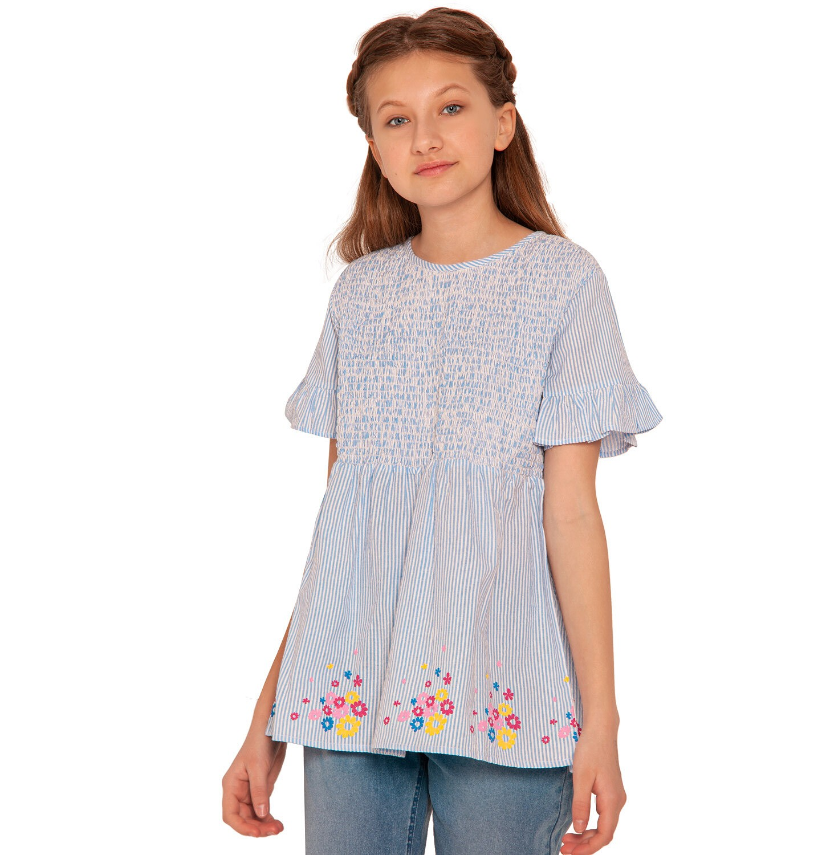 Endo - Bluzka koszulowa z krótkim rękawem dla dziewczynki, w paski, deseń w kwiaty, 9-13 lat D03F507_1