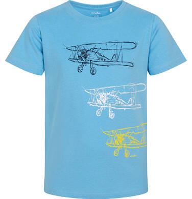 Endo - T-shirt z krótkim rękawem dla chłopca, z samolotami, niebieski, 3-8 lat C06G067_1 23