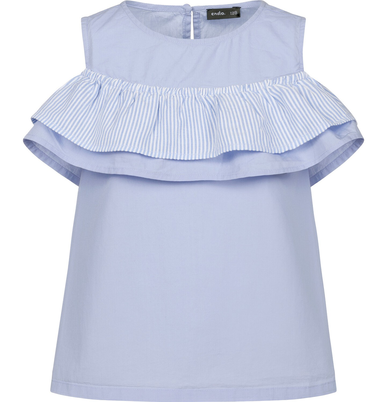 Endo - Bluzka koszulowa na ramiączkach dla dziewczynki, z falbanką, niebieska, 9-13 lat D03F510_1