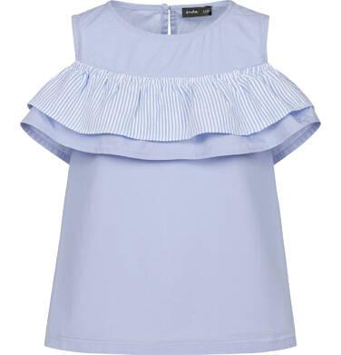Endo - Bluzka koszulowa na ramiączkach dla dziewczynki, z falbanką, niebieska, 9-13 lat D03F510_1 214