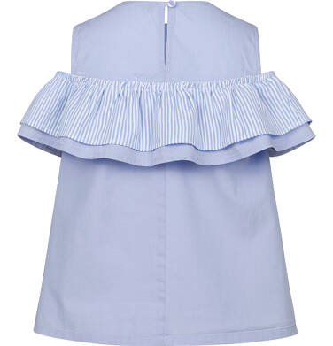 Endo - Bluzka koszulowa na ramiączkach dla dziewczynki, z falbanką, niebieska, 9-13 lat D03F510_1,2