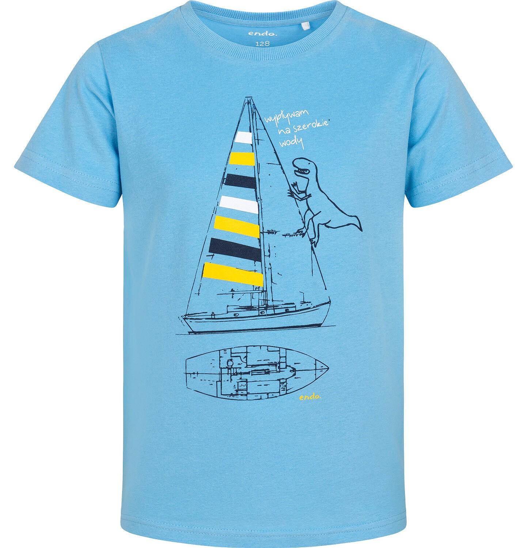 Endo - T-shirt z krótkim rękawem dla chłopca, z żaglówką i dinozaurem, niebieski, 2-8 lat C06G068_1