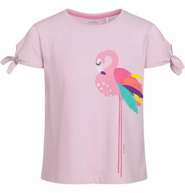 Endo - Bluzka z krótkim rękawem dla dziewczynki, z flamingiem i wiązaniami na rękawach, różowa, 9-13 lat D03G567_1