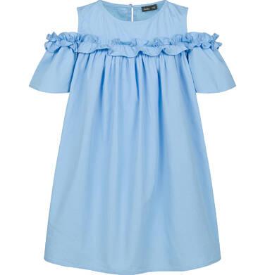 Koszulowa sukienka z odsłonietymi ramionami i falbanką, niebieska, 2-8 lat D03H027_1
