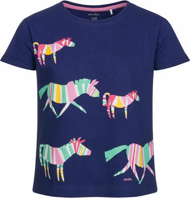 Endo - Bluzka z krótkim rękawem dla dziewczynki, w wielobarwne zebry, granatowa, 2-8 lat D03G069_1