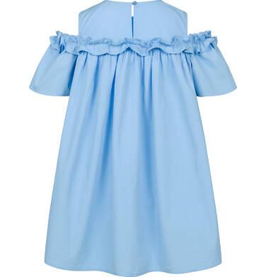 Endo - Koszulowa sukienka z odsłonietymi ramionami i falbanką, niebieska, 9-13 lat D03H527_1,2