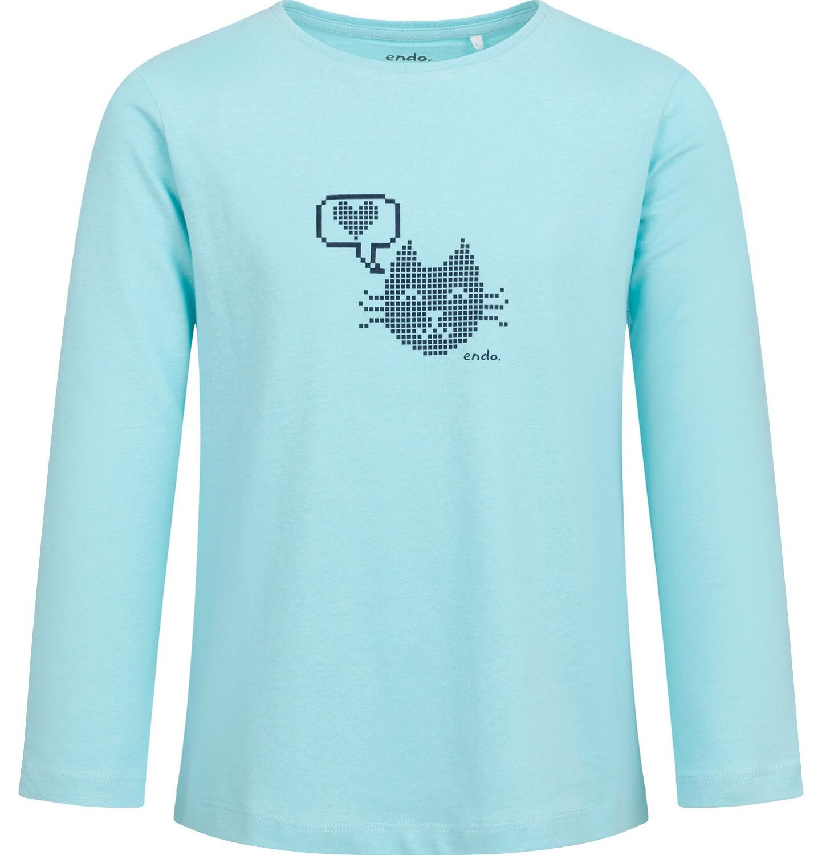 Endo - Bluzka z długim rękawem dla dziewczynki, z kotem, niebieska, 2-8 lat D04G076_1